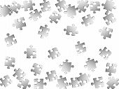 Game riddle jigsaw puzzle metallic silver pieces vector background. Scatter of puzzle pieces isolated on white. Cooperation abstract concept. Kids building kit pattern. poster