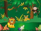 illustration of a jungle with some animals poster