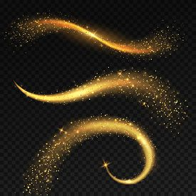 Golden Light Tails. Magic Fairy Stardust With Yellow Sparkles, Christmas Shiny Star Light. Glitterin