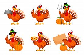Happy Thanksgiving, Greeting Card, Poster Or Flyer For Holiday, Set Of Six Poses. Thanksgiving Turke