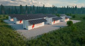 Concept Of Solar Container Units Situated In Fresh Nature With Grass In Foreground And Forest In Bac