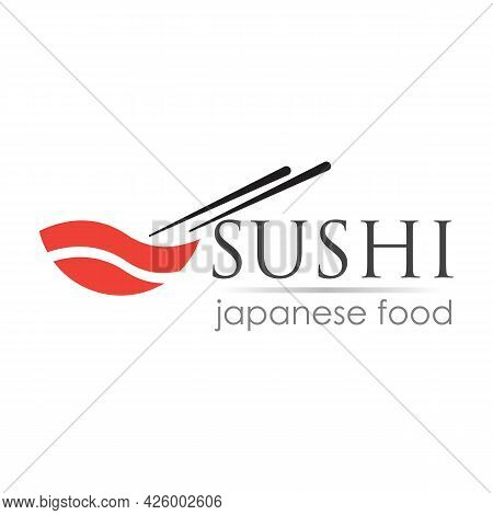 Sushi Logo Template For Japanese Food Cafe With Salmon Sushi