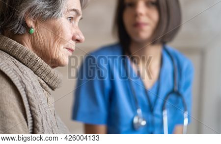 A Young Nurse Takes Care Of An Elderly 80-year-old Woman At Home, Holds Her Hands . Happy Retired Wo