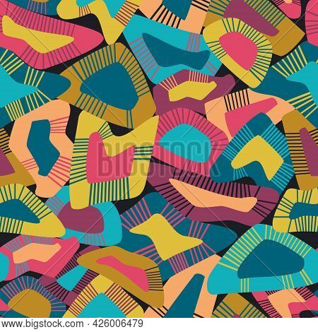Childish Playful Pattern Featuring Bright, Eight-color Abstract On Black Irregular Non-directional S