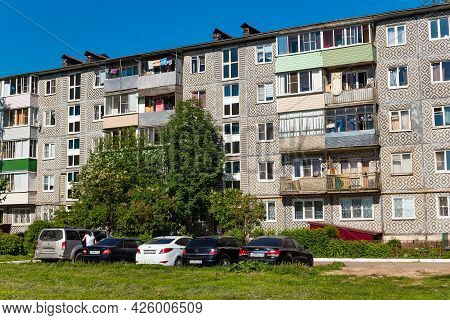 A Typical Panel Multi-apartment Residential Building Of The Ussr Period - A Five-story Khrushchev Bu