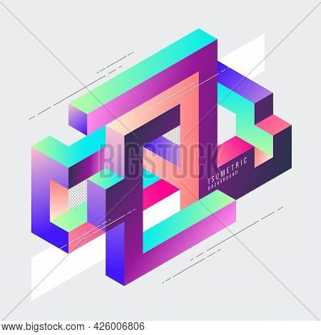 Isometric Geometric Impossible Shape Abstract Background Modern Art Style. Design Element Template C