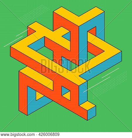 Isometric Geometric Shape Abstract Background Modern Art Style. Design Element Template Can Be Used