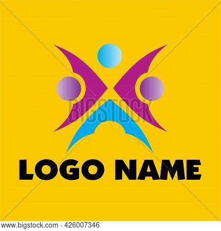 Human Unity Illustration Logo Design. Togetherness Logo Concept In Side By Side Style