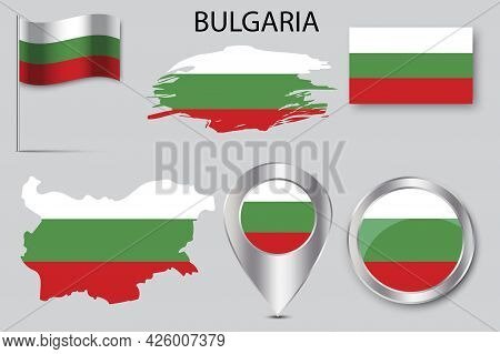 Banner With Bulgaria Pin Map Flag. Pin Point Icon. National Flag Graphic Design. Vector Illustration