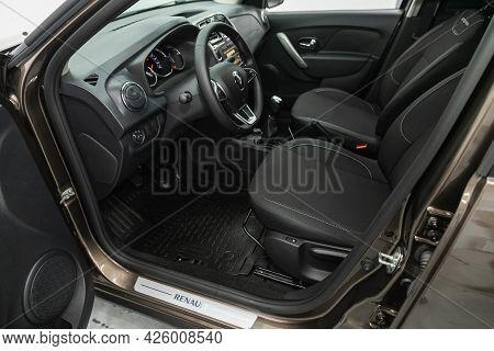 Novosibirsk, Russia - June 29, 2021: Renault Logan Stepway, Steering Wheel, Shift Lever, Multimedia