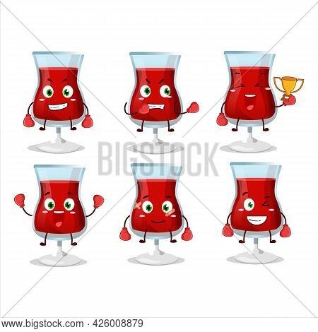 A Sporty Red Wine Boxing Athlete Cartoon Mascot Design