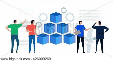 Microservices Container Concept Of Micro Service In System Development Programming Line Of Code Inte