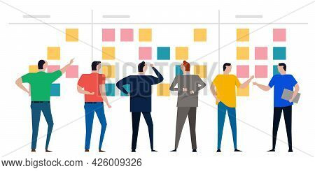 Kanban Board Agile Scrum Wall Of Sticky Notes Team Working Together Discuss From Back Colorfull