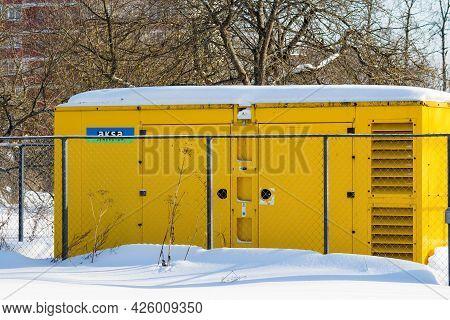Diesel Generator Aksa Outside In Winter. Backup Power Supply For The Enterprise: Russia - February 2