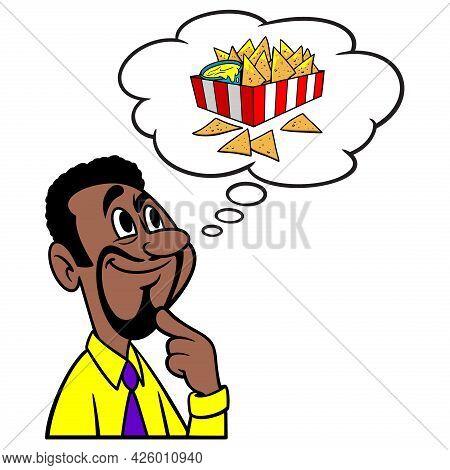 Man Thinking About Nachos - A Cartoon Illustration Of A Man Thinking About Snacking On Nachos.