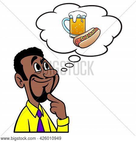 Man Thinking About Oktoberfest - A Cartoon Illustration Of A Man Thinking About Having A Hotdog And