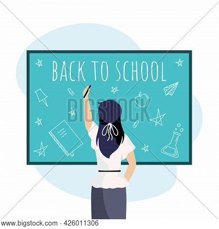 Teacher Writes Phrase Back To School On  Blackboard. Woman View From  Back. Vector Illustration For