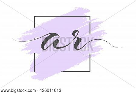 Calligraphic Lowercase Letters Ar On A Colored Background In A Frame. Simple Style