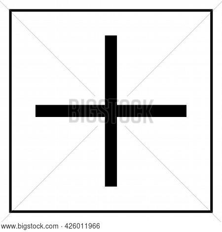 Caution Plus Positive Polarity Symbol Sign On White Background