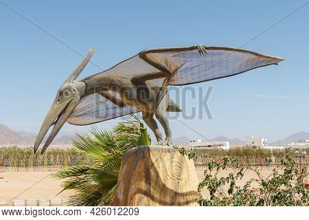 Sharm El Sheikh, Egypt - June 3, 2021: Figure Of A Dinosaur In A Park Of Sharm El Sheikh City In Egy