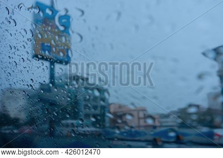 Raindrops Falling On Glass, Abstract Blurs - Monsoon Stock Image Of Kolkata (formerly Calcutta) City