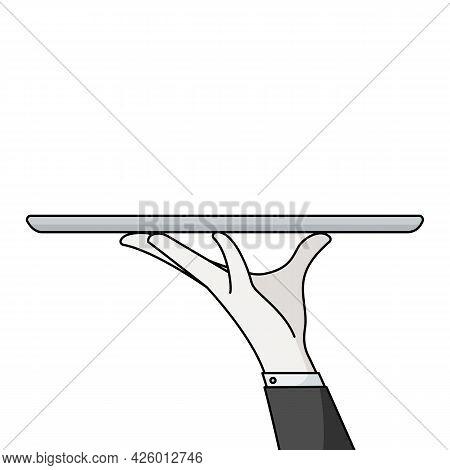 Elegant Waiter Hand Holding Empty Serving Tray For Food. Vector Flat Cartoon Illustration