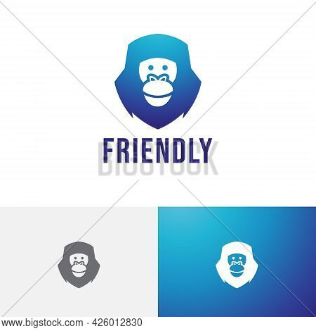 Friendly Gorilla Smiling Monkey Ape Animal Nature Logo
