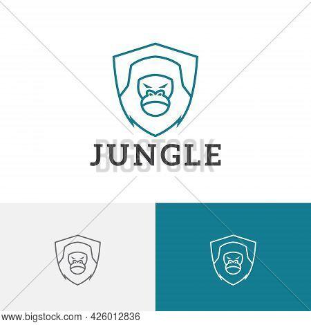 Jungle Strong Shield Gorilla Monkey Ape Rescue Line Logo