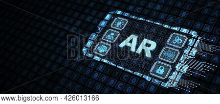 Ar, Augmented Reality Icon. Business, Technology, Internet And Network Concept. 3d Illustration