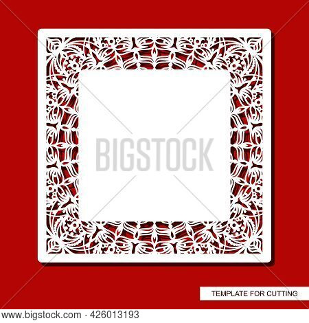 Square Frame With A Carved Pattern. Openwork Border With Floral Ornaments, Curls. Wedding Invitation