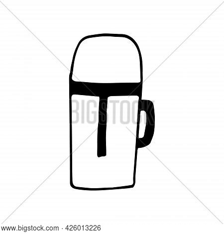Thermos Icon. Hand Drawn Doodle. Vector, Scandinavian, Nordic, Minimalism, Monochrome. Hot, Drink, H