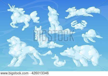 Cloud Animals, Cartoon Fluffy Eddies In Shape Of Unicorn, Bear, Wolf And Turtle With Cat, Fox And Li