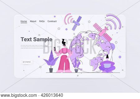 People Using Digital Gadgets 5g Network Technology Wireless Mobile Telecommunication Service Concept