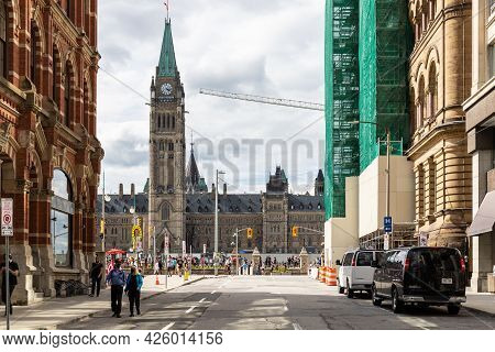 Cityscape View With Historical Buildings In Downtown Of Ottawa, Canada. Parliament Building.