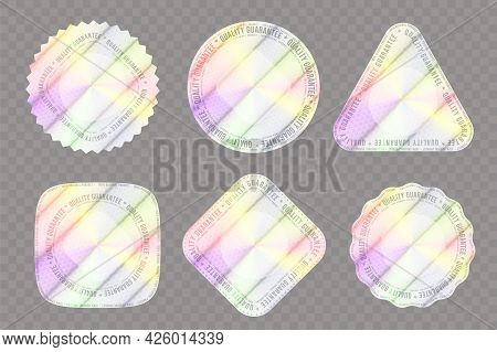 Set Of Realistic Holograms Of Various Shapes For Decoration. Holographic Sticker For Award, Product