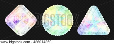 100 Percent Original Holographic Emblem Template Set. Quality Label Rainbow Holograms Guarantee Prod