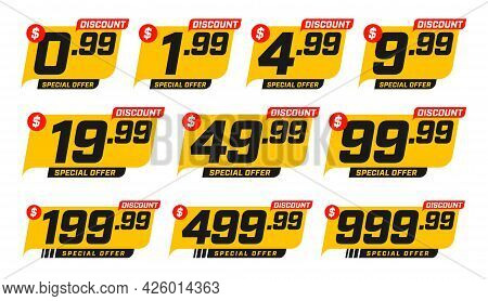 Discount Price Tag From 0.99 To 999.99 Dollar Set. Special Sale Offer Advertising With Price-off Lab