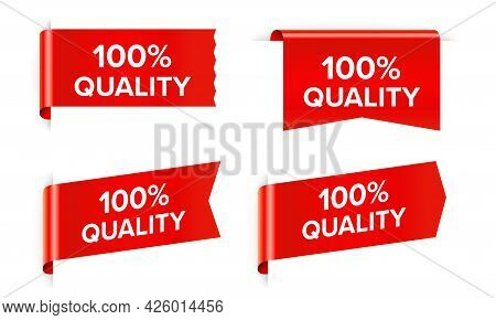 100 Percent Quality Red Sticker Isolated On White Background