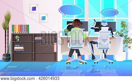 Businesswoman And Robot Sitting At Workplace Artificial Intelligence Teamwork Chat Bubble Communicat
