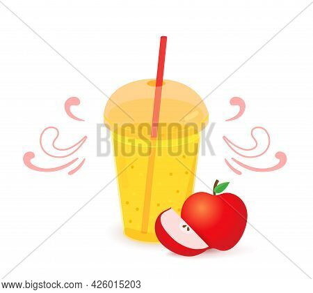 Realistic Plastic Glass With Yellow Juice Or Smoothies And Straw.