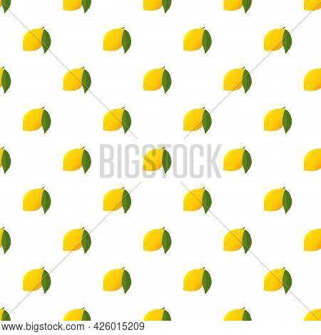 Fresh Yellow Lemon And Green Leaf Pattern. Citrus Lemon Pattern Isolated