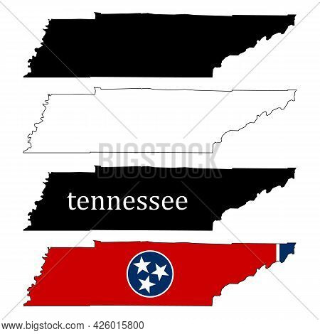 Tennessee Map On White Background. Tennessee State Sign. Tennessee Map With The Flag Inside. Flat St