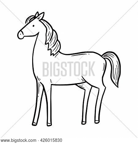 Hand Drawn Farm Horse. Doodle Sketch Style. Drawing Line Horse Icon. Isolated Vector Illustration.