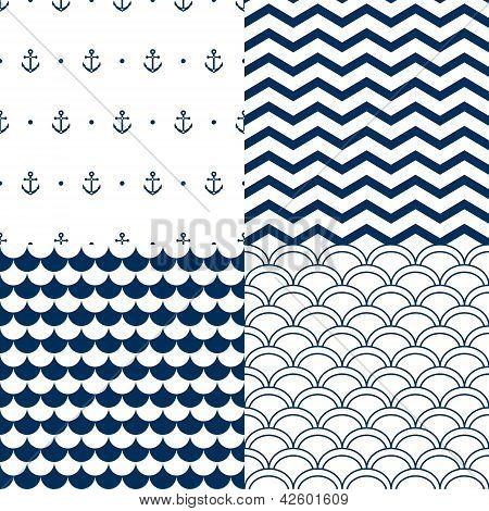Navy vector seamless patterns set: scallop, waves, anchors, chevron