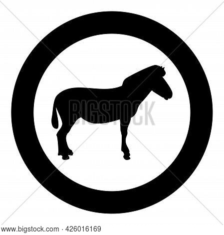 Zebra Stand Animal Standing Silhouette In Circle Round Black Color Vector Illustration Solid Outline