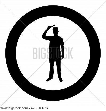 Man Is Combing Hair Use Hairbrush Front View Silhouette In Circle Round Black Color Vector Illustrat