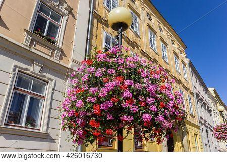 Znojmo, Czech Republic - September 18, 2020: Flowers On A Street Light In The Historic Center Of Zno