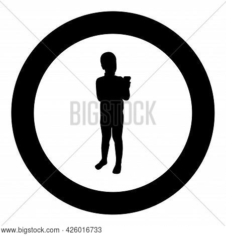 Boy Holding Smartphone Phone Playing Tablet Male Using Communication Tool Adolescent Looking Phone A