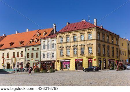 Znojmo, Czech Republic - September 18, 2020: Shops In Historic Buildings On The Market Square Of Zno