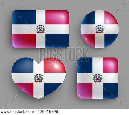 Set Of Glossy Buttons With Dominican Country Flag. American Island State National Flag, Shiny Geomet